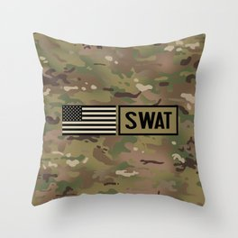 SWAT: Woodland Camouflage Throw Pillow