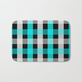 blue black checks Bath Mat