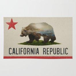 California Grizzly Bear Flag Rug