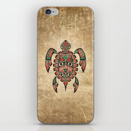 Vintage Red and Green Haida Spirit Sea Turtle iPhone Skin