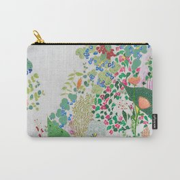 Painterly Floral Jungle on Pink and White Carry-All Pouch