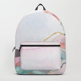 Abstract painted landscape of mountains Backpack