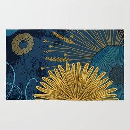 Navy floral background Rug