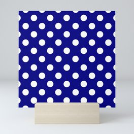 POLKA DOT (WHITE & NAVY) Mini Art Print