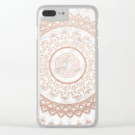 Mandala - rose gold and white marble Clear iPhone Case
