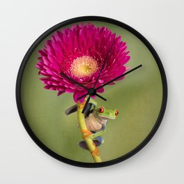 Red Eyed Tree Frog on a Flower Wall Clock