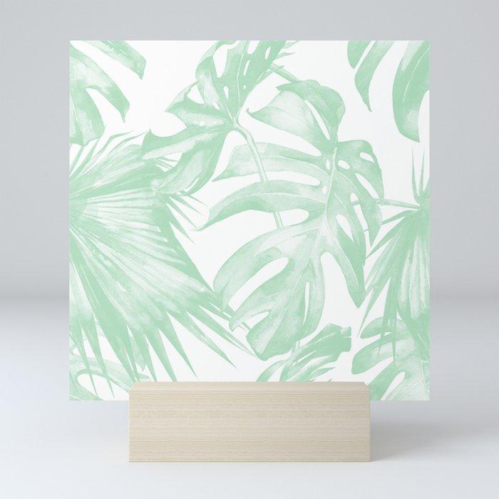 Light Green Tropical Palm Leaves Print Mini Art Print