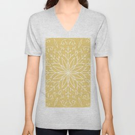 Single Snowflake - Yellow Unisex V-Neck