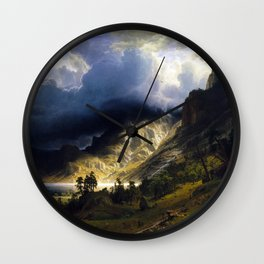 A Storm In The Rocky Mountains Wall Clock