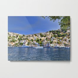 Symi island in Greece. Traditional houses. Sunny day with blue sky and sea. Metal Print
