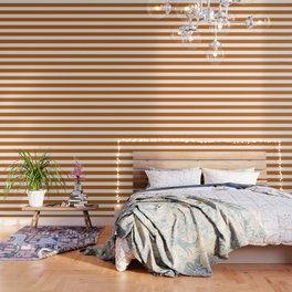 Alloy orange - solid color - white stripes pattern Wallpaper