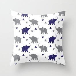Elephants & Triangles - Gray / Navy Blue Throw Pillow