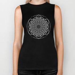 Black and White Geometric Mandala Biker Tank