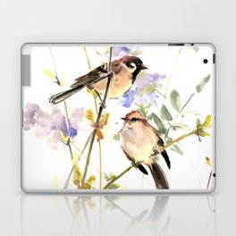 Sparrows and Spring Blossom Laptop & iPad Skin