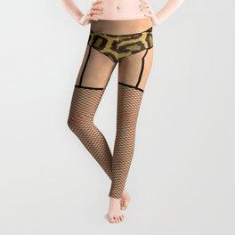 Fishnet Stockings and Leopard Skin Knickers Leggings