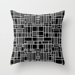 Map Lines Black Throw Pillow