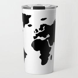modern black world map Travel Mug