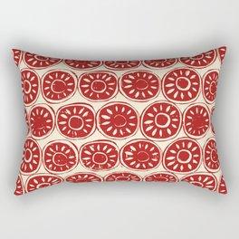 flower block red ivory Rectangular Pillow