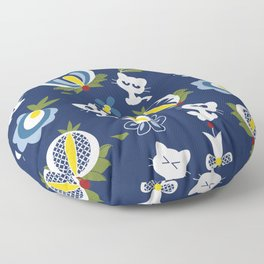 Cat with Ethnic Folk Flower Floor Pillow