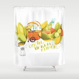 Mango con sal Shower Curtain