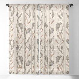 Poppy Pod Pattern Sheer Curtain