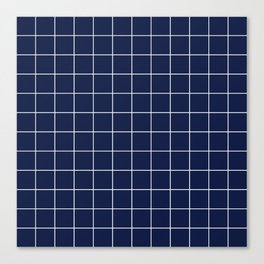 Indigo Navy Blue Grid Canvas Print