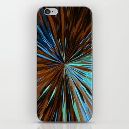 psychedelic splash painting abstract pattern in brown and blue iPhone Skin