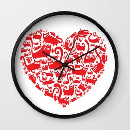 Cute red heart made from cats Wall Clock