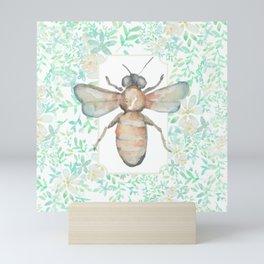 Garden Bee and Blooming Flowers Mini Art Print