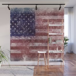 US Flag vintage worn out Wall Mural