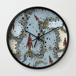 flying rockets in space and planets Wall Clock