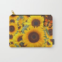 SUNFLOWER & MONARCHS IN BLACK ART Carry-All Pouch