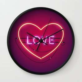 Pink Love in the Heart Neon Sign Wall Clock