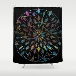 Boho Mandala Flower Splatter Shower Curtain