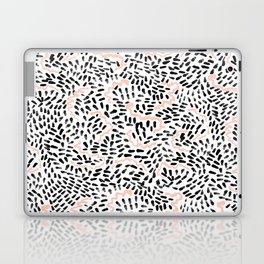Helena - black white rose quartz abstract squiggle dot mark making painting brushstrokes minimal  Laptop & iPad Skin