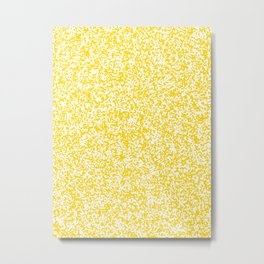Tiny Spots - White and Gold Yellow Metal Print
