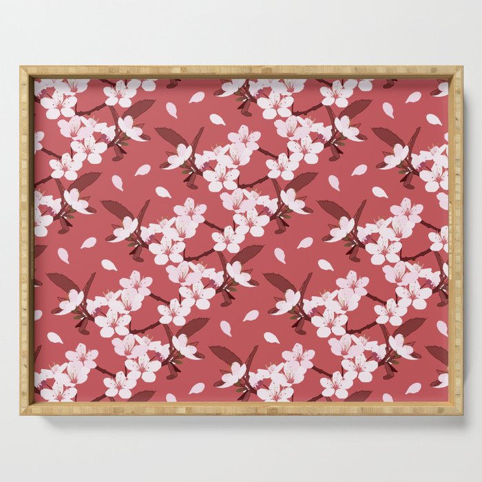 Sakura on red background Serving Tray