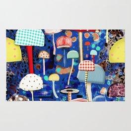 Blue Mushrooms - Zu hause Marine blue Abstract Art Rug