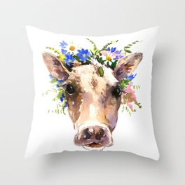 Cow Head, Floral Farm Animal Artwork Throw Pillow