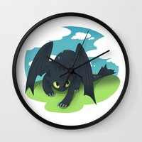 toothless Wall Clocks featuring toothless by tsurime