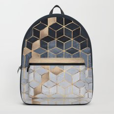 Soft Blue Gradient Cubes Backpacks