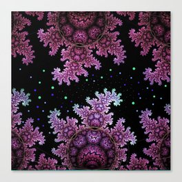 Magical fantasy patterns in purple, pink and green Canvas Print