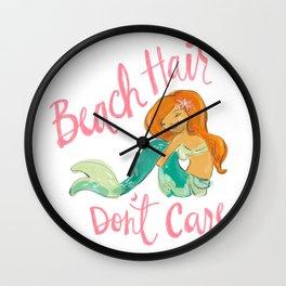 Beach Hair, Don't Care Wall Clock