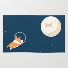 Fly to the moon _ navy blue version Rug