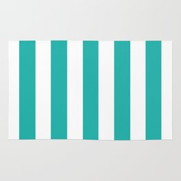 Light sea green - solid color - white vertical lines pattern Rug
