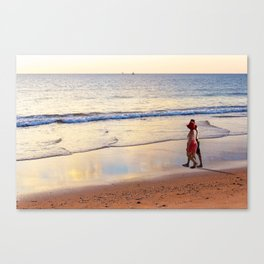 Relaxing Time on the Beach Sunday Afternoon Canvas Print