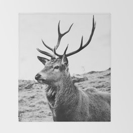 The Stag on the hill - b/w Throw Blanket