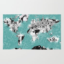 World map landmark collage Rug