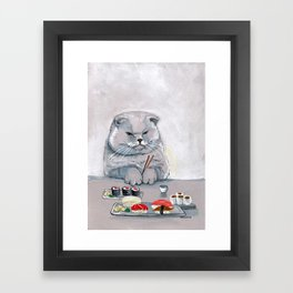 """Sushi Cat"" Mr.Grumps Framed Art Print"