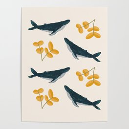 Happy Whales and Florals Pattern Poster